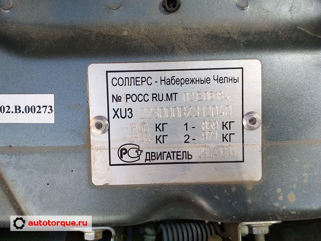 Fiat Doblo табличка с VIN российская сборка